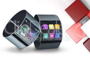 Composite image of futuristic black wrist watch with interface