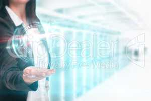 Composite image of pretty businesswoman presenting with hand