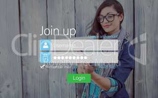 Login with Smiling glasses woman and pad