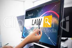 Composite image of logo of a search bar in which law is written