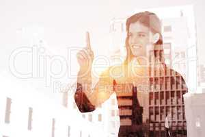 Composite image of smiling woman pointing something with her fin