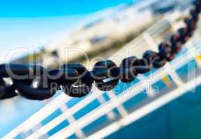 Horizontal vivid metal chain blue sky ladder composition backgro