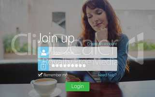 Log-in screen with redheaded woman