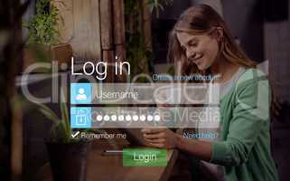 Login screen with smiling woman with pad and coffee