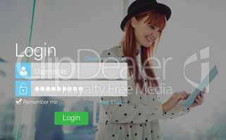 Login screen with redheaded woman and pad