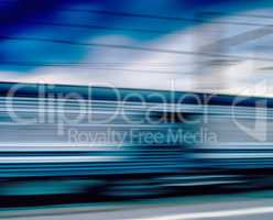 Horizontal vivid blue train motion blur abstraction background b
