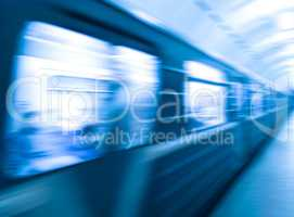 Diagonal blue metro train in motion abstraction background