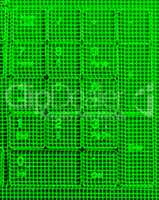 Vertical green matrix keypad abstraction backdrop
