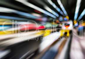 Horizontal vivid abstract motion train station transportation ba