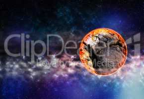 Horizontal right aligned cracked planet in deep space background