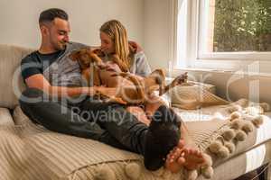 Couple on sofa by window cuddling dog
