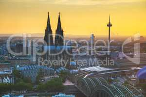 Cologne aerial overview before sunset