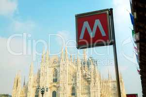 Metro sign at the Duomo square in Milan