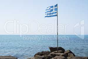 Greek flag on the bach
