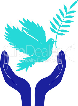 hands and dove of peace vector illustration