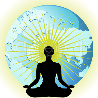 Yoga women silhouette in pose flower lotus on Earth globe vector illustration