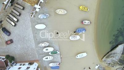 Aerial Drone View Mediterranean Fishing Village