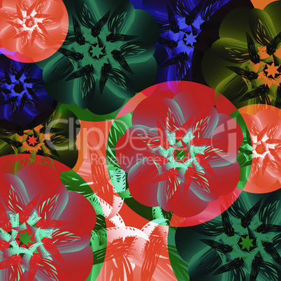 Abstract medal of flowers. Summer colors toucan, tropical, exotic and heat on a green background.