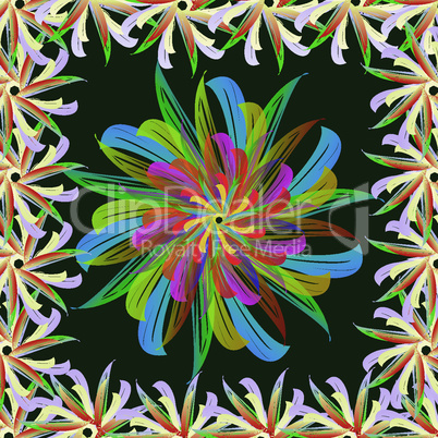 Abstract flower. Summer colors toucan, tropical, exotic and heat on a green background.