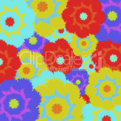 Multi-colored furry flowers. Exotic abstract colors for background or pattern