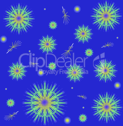 Snowflakes on a blue background. Winter background with fractal snowflakes with highlights