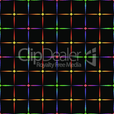 Neon diamonds. Pattern or background of multicolored neon stars on a black background
