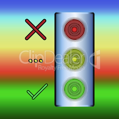 Icon of traffic lights. Bulk traffic light, red - stand, yellow - wait, green - go light, with reflections on a colored background