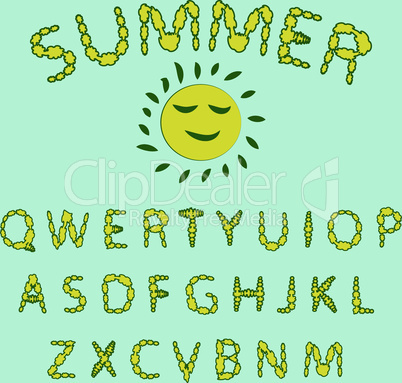 Floral summer font. Red and yellow colors of the font, the English alphabet