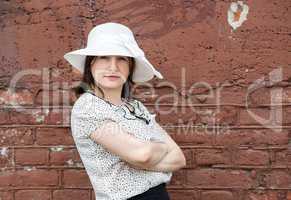 Woman in retro hat