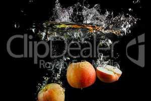 Fresh apples in water