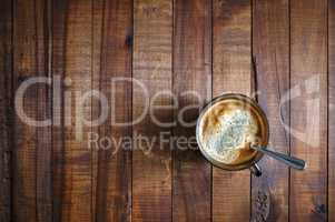 Coffee on wooden background