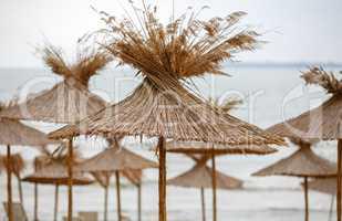 Umbrellas of straw