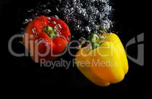 Fresh paprika in water