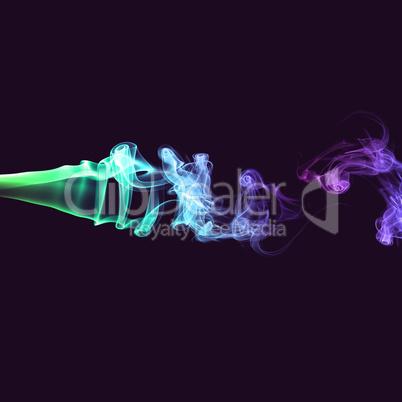 Abstract green and purple smoke