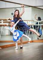 Mom and daughter in dance class