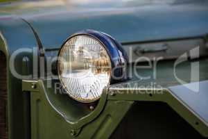 Headlight of military car