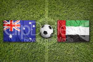 Australia vs. United Arab Emirates flags on soccer field
