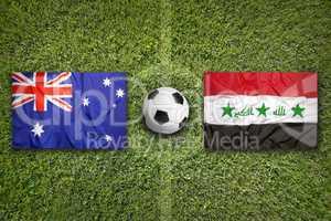Australia vs. Iraq flags on soccer field