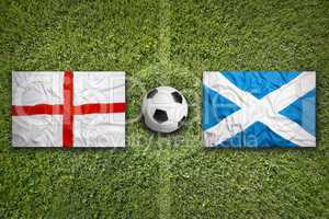 England vs. Scotland flags on soccer field