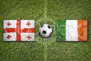 Georgia vs. Ireland flags on soccer field