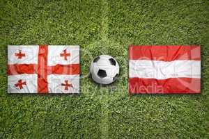 Georgia vs. Austria flags on soccer field