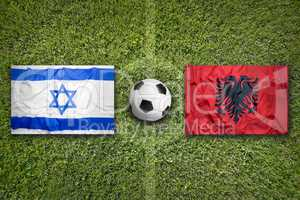 Israel vs. Albania flags on soccer field