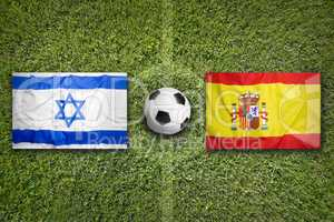 Israel vs. Spain flags on soccer field