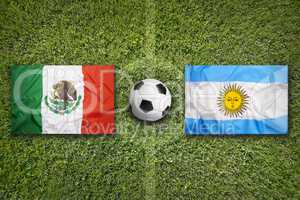 Mexico vs. Argentina flags on soccer field