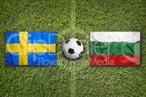 Sweden vs. Bulgaria flags on soccer field