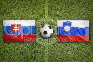 Slovakia vs. Slovenia flags on soccer field