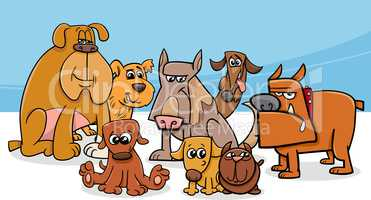 dogs group cartoon