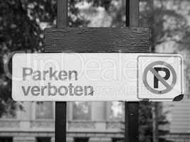 No parking sign in black and white