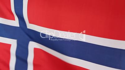 Closeup of Norwegian national flag in slow motion