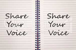 Share your voice write on notebook